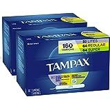 Tampax Cardboard Applicator Tampons, Multipack, Light/Regular/Super Absorbency, Unscented, 80 Count - Pack of 2 (160…