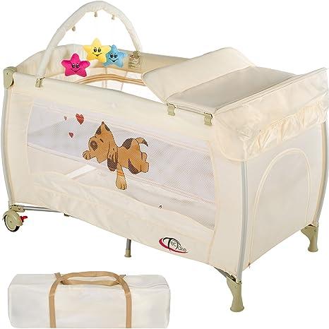 TecTake Cuna infantil de viaje de altura ajustable con acolchado para bebé - disponible en diferentes
