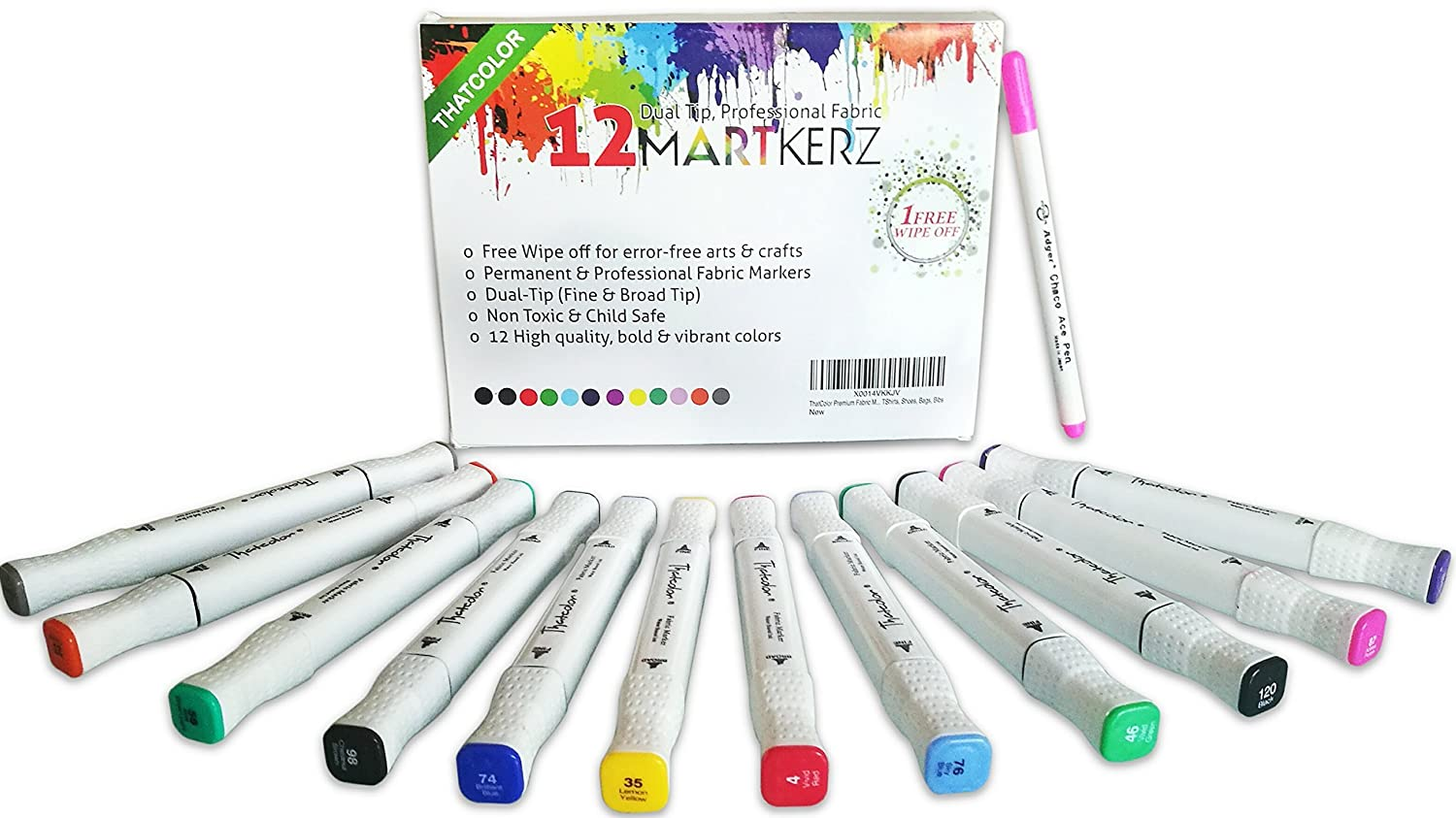 Thatcolor Fabric Markers All-in-One Set: 12 Dual Tip, Non Toxic, Permanent Graffiti Coloring Pens, Disappearing Ink Pen, Iron Transfer Sticker Martkerz® DT-W-12
