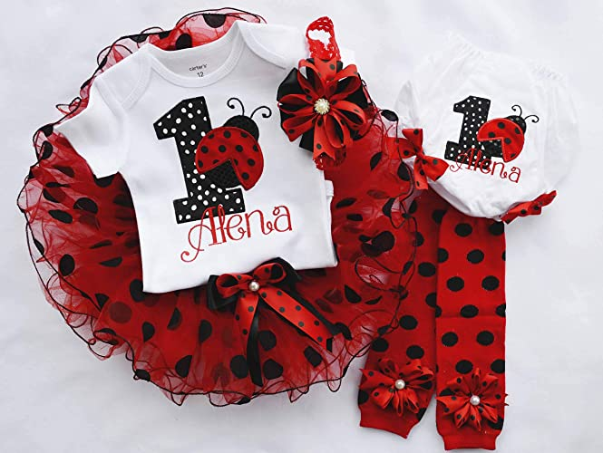 04d718539 Amazon.com: first birthday outfit girl,ladybug birthday outfit,1st birthday  girl,first birthday tutu,red black polka dot birthday,cake smash outfit girl:  ...