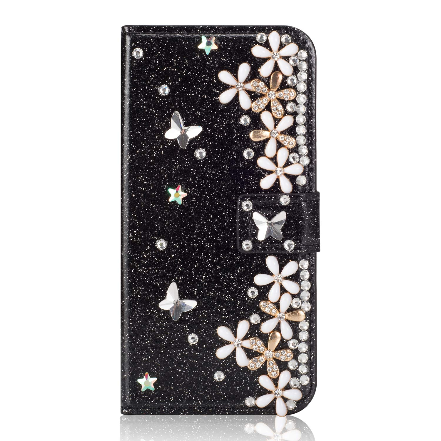 Vistore Diamond Butterfly Flower Case for Huawei P30 Pro,3D Crystal Floral Flip Cover for Huawei P30 Pro,Women Girls Anti-Drop Stand PU Leather Case with Soft Silicone - Rose Gold