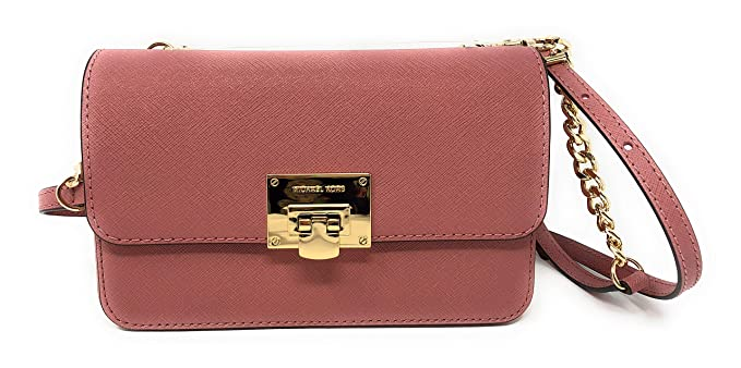 Michael Kors Tina Leather Clutch Crossbody and Detachable Wallet Bag In Rose ee1c95dbd4435