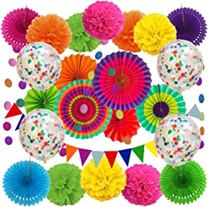 DECORAUSBOX Fiesta Party Decorations, 29 pcs Mexican Party Decorations Set with Paper Fans, Confetti Balloons, Pennant Banner, Paper Flowers for Birthday Party, Taco, Fiesta or Cinco De Mayo