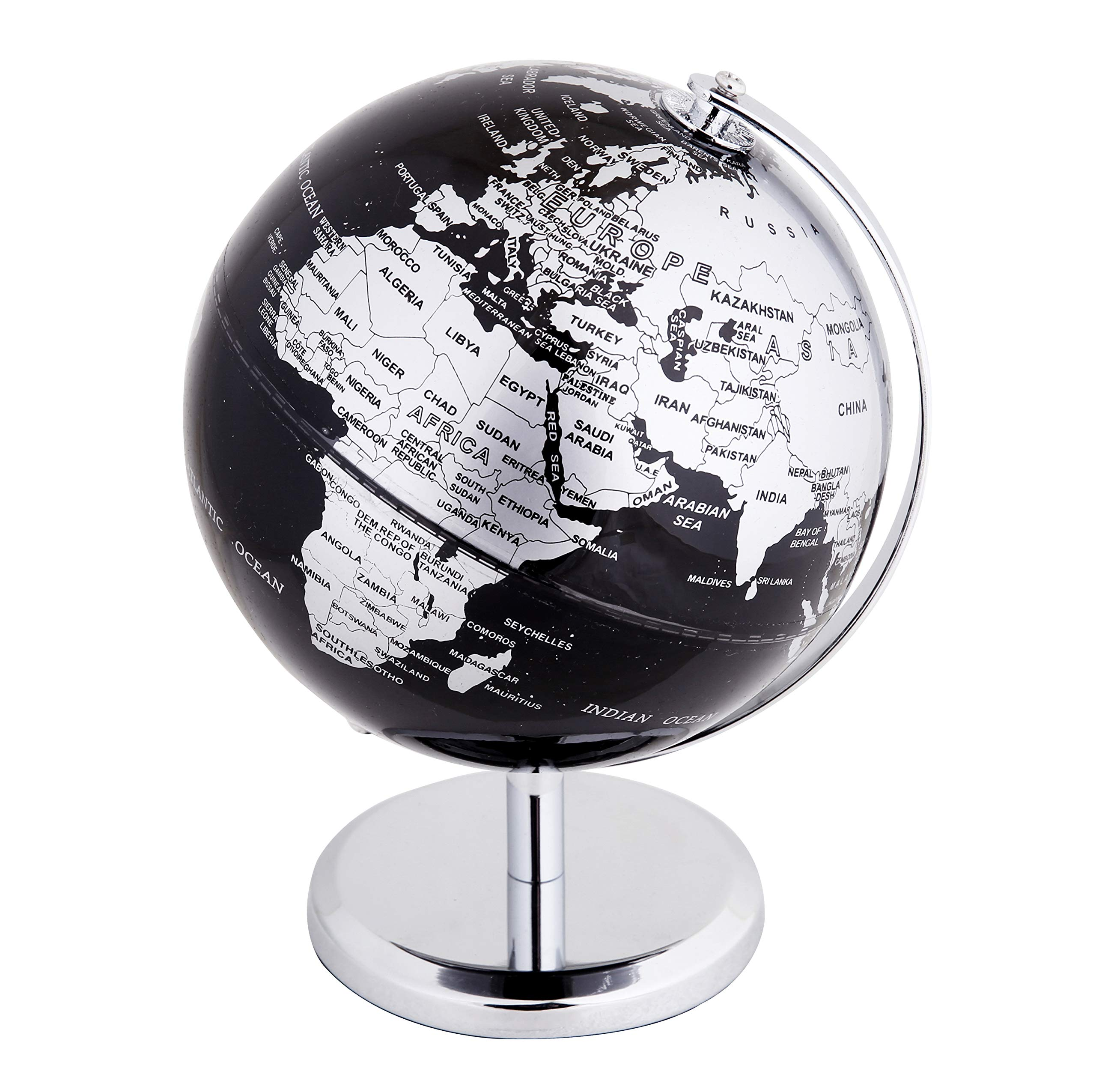 Exerz Metallic World Globe (Dia 5.5-Inch / 14 cm) Black - Educational/Geographic/Modern Desktop Decoration - Stainless Steel Arc and Base/Earth World - Metallic Black - for School, Home, and Office by Exerz