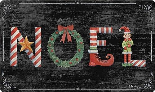 Toland Home Garden 800463 Holiday Noel Doormat, Winter Christmas Elf Wreath