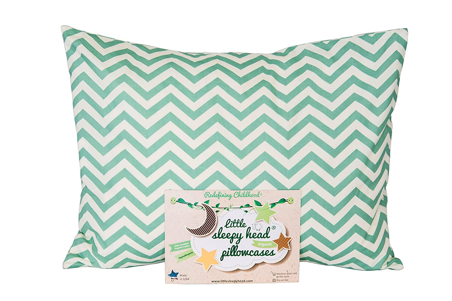 Little Sleepy Head Toddler Pillowcase - Organic Collection (Chevron Gray)