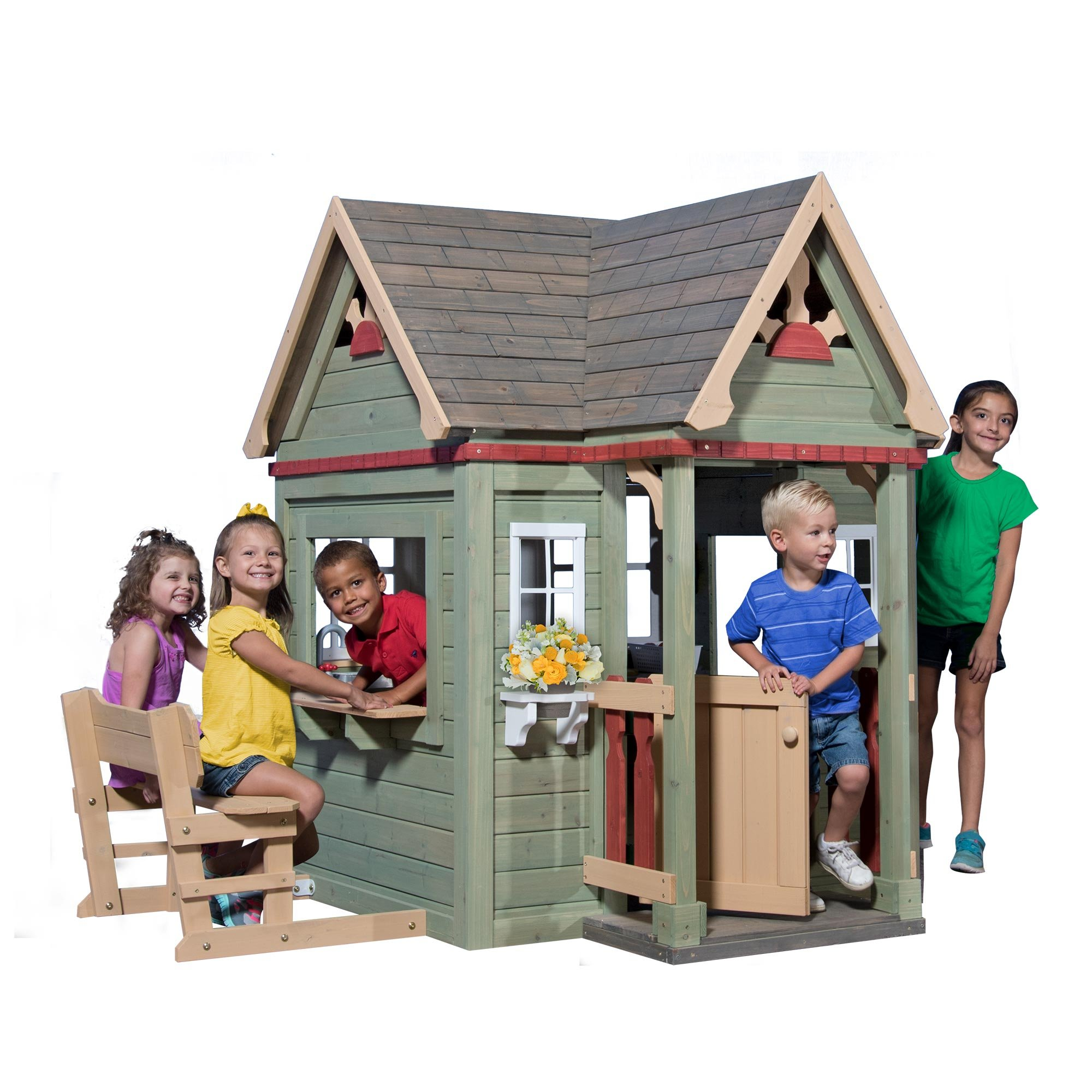Backyard Discovery Victorian Inn All Cedar Outdoor Wooden Playhouse by Backyard Discovery