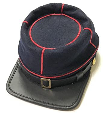 02f9ef4f616 Amazon.com  Civil War American Union State Militia Navy Blue with red Braid  Artillery Leather Peak kepi  Clothing