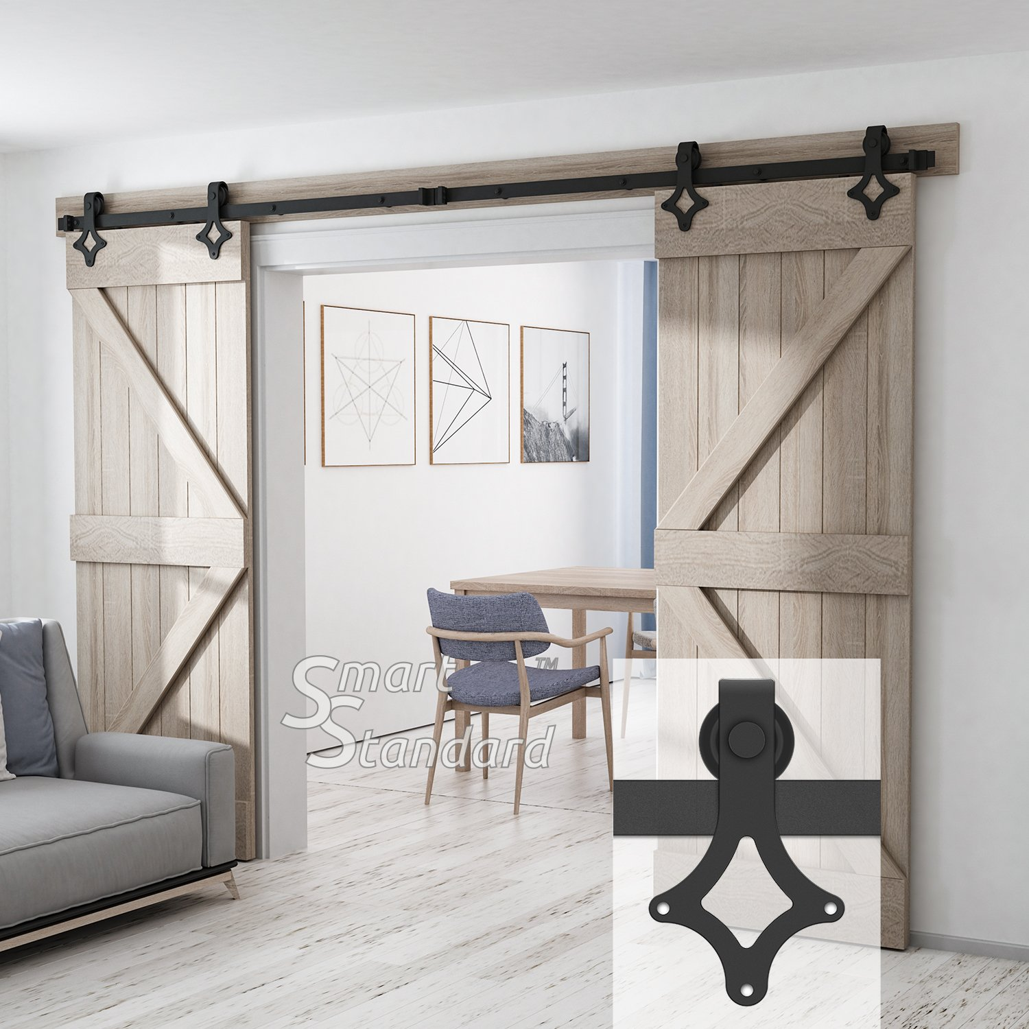 10ft Heavy Duty Sturdy Double Door Sliding Barn Door Hardware Kit - Super Smoothly and Quietly - Simple and Easy to Install - Includes Step-by-Step Instruction -Fit 30'' Wide Door(Rhombic Shape Hanger) by SMARTSTANDARD (Image #2)