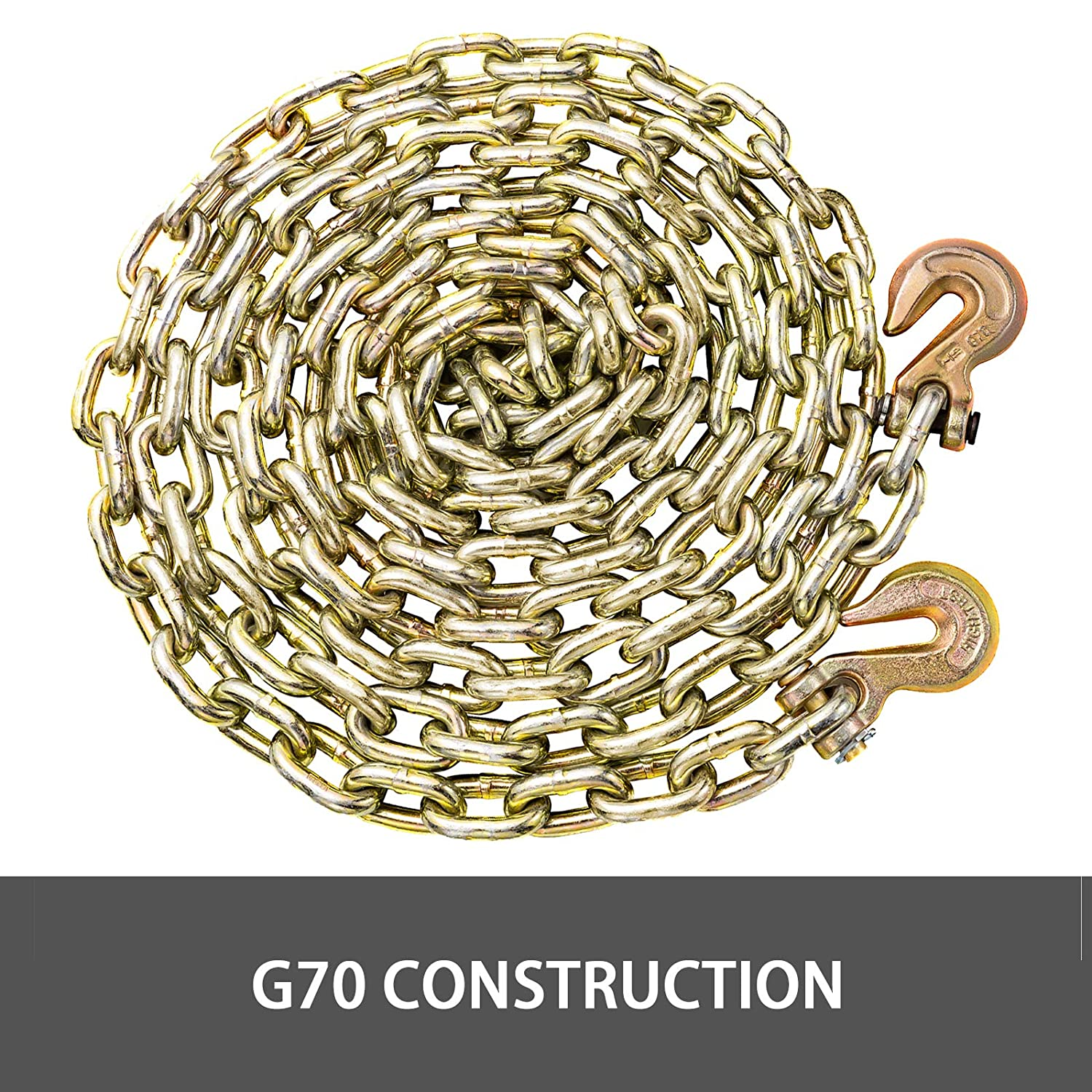BestEquip 1//2 Inch Grade 70 Chain Heavy Duty by 20.6 FT Length Towing Chain Oil Chain Zinc Plated W//Safety Grab Hooks