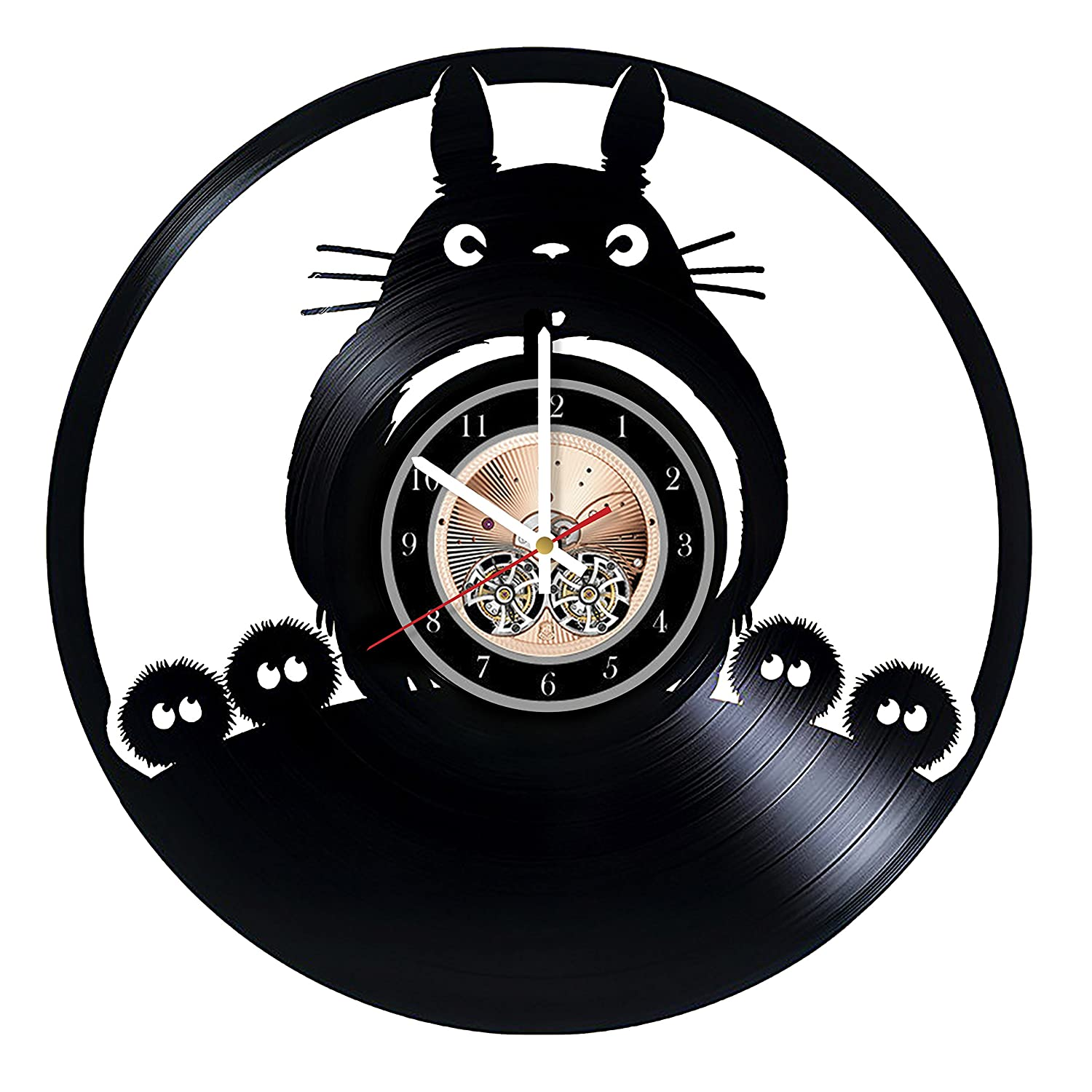 My Neighbor Totoro Animated Film HANDMADE Vinyl Record Wall Clock - Get unique bedroom or living room wall decor - Gift ideas for him and her