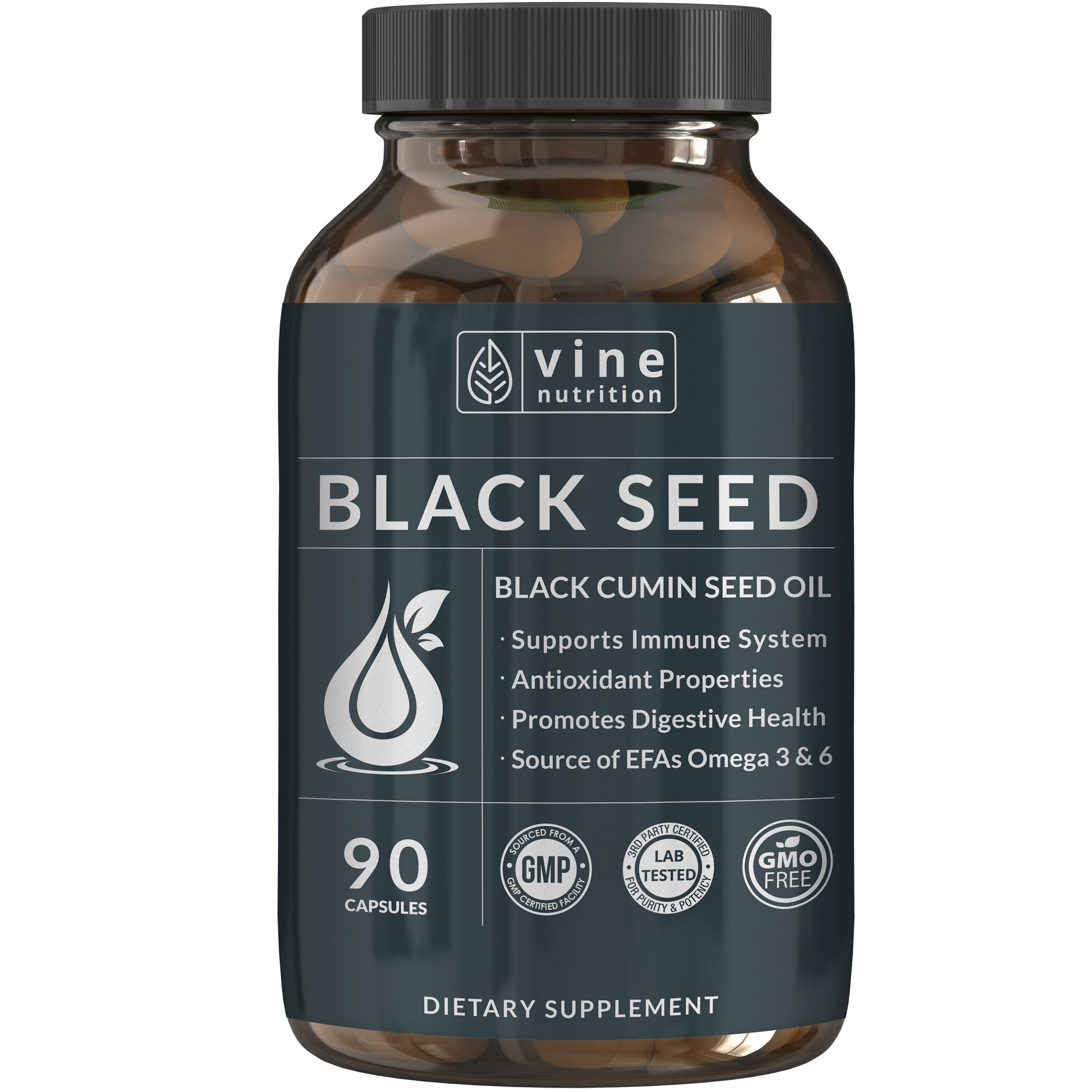 Premium Black Seed Oil Capsules - Nigella Sativa - Immune System Support Soft Gels   Cold Pressed Antioxidant Vegetarian Black Cumin Supplement   500MG Made In The USA By Vine Nutrition