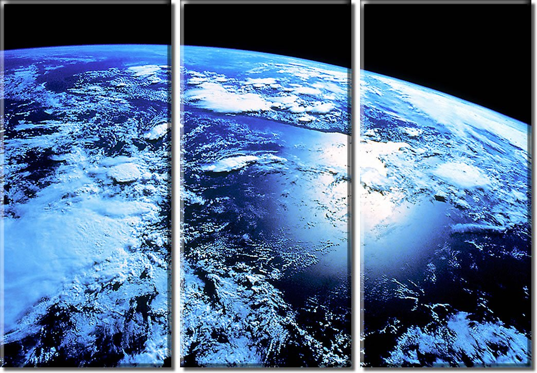 Picture Sensations Framed Huge 3-Panel World Universe Blue Planet Earth Giclee Canvas Print by Picture Sensations