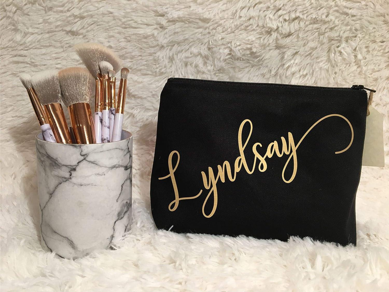 Cursive Custom Name Makeup Bag | Bridesmaid Gift | Monogram Bag | Wedding | Birthday | Bride | Thank You | Proposal