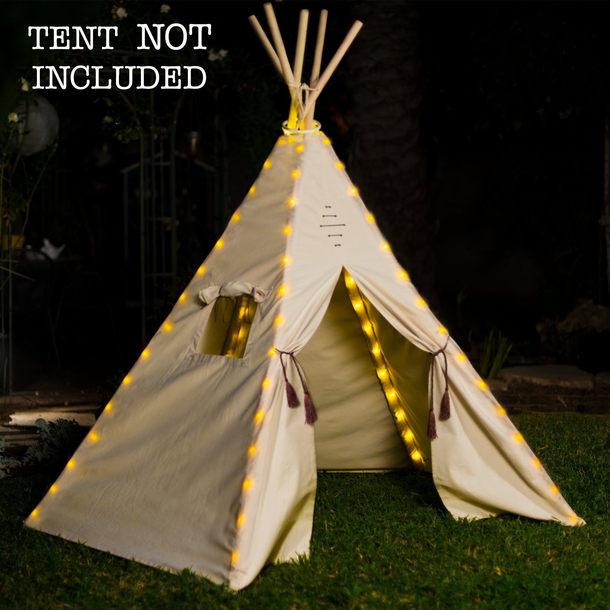 Fairy Lights for Teepee Tents - Battery Operated. Set of 75 Bright Yellow LED Bulbs. Easy Installation, Universal Design - Our Decoration Light Set Fits Most Kids Playhouses. TENT NOT INCLUDED.