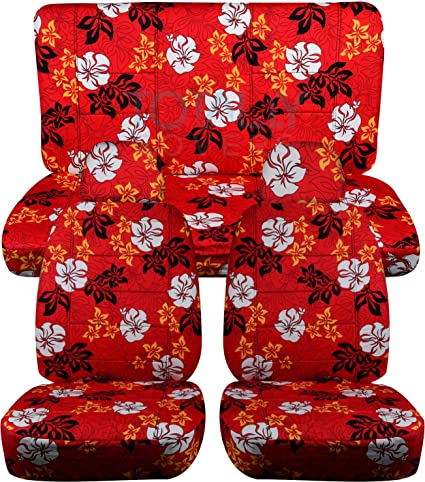 Hawaiian Print Car Seat Covers W 2 Front Headrest Red Flowers