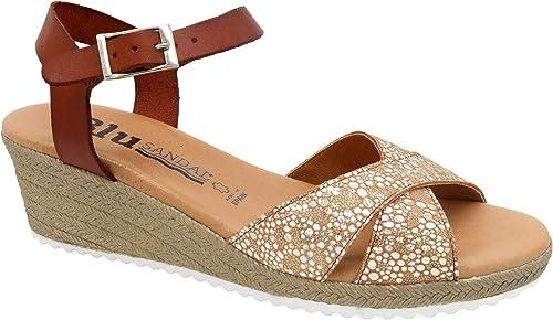 Sandalias azules fabricadas en España, sandalias de piel para ...