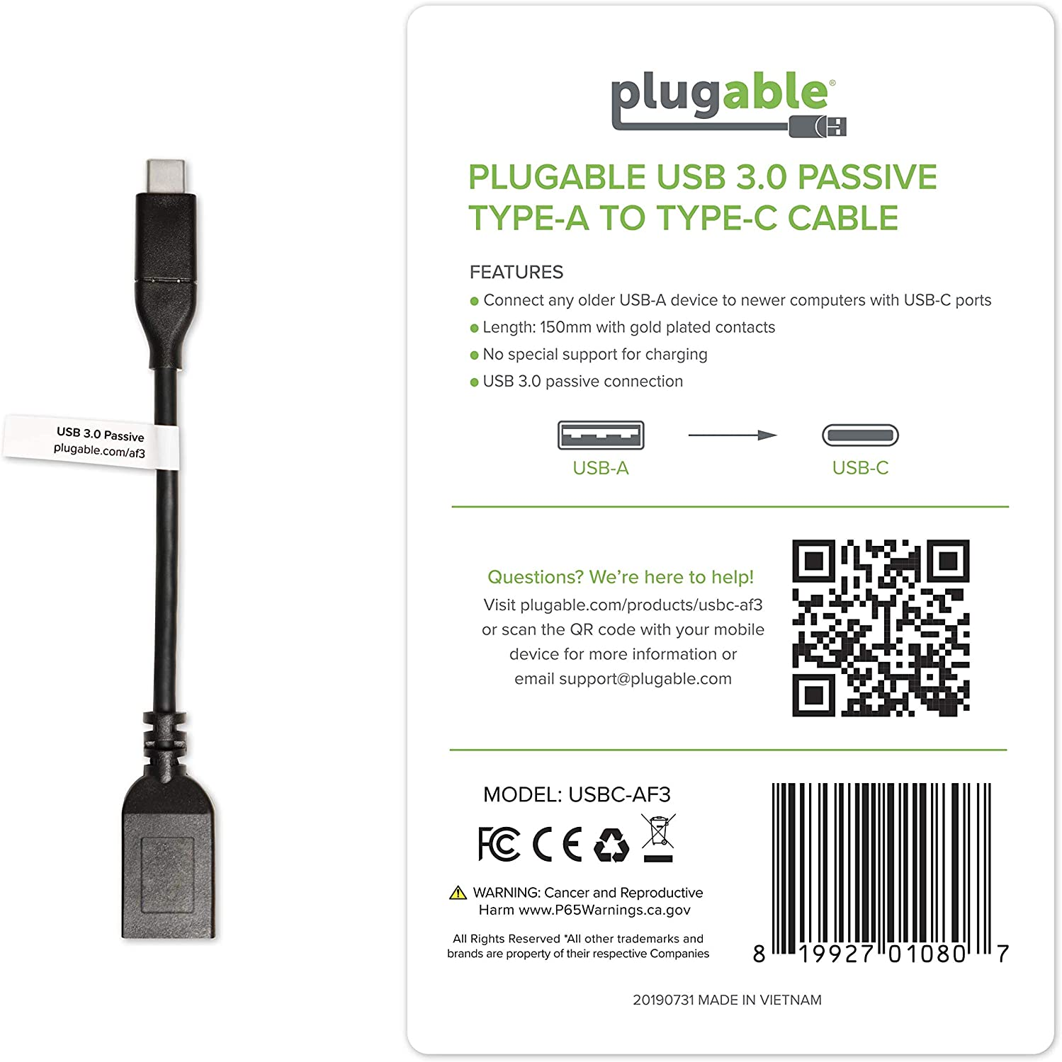 or Phone to a USB 3.0 Device Tablet Plugable USB C to USB Adapter Cable Enables Connection of USB Type C Laptop 20 cm