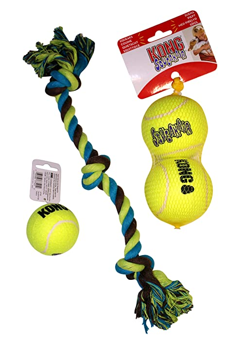 KONG Paquete de Juguetes para Perros: (2) Pelotas de Tenis tamaño ...