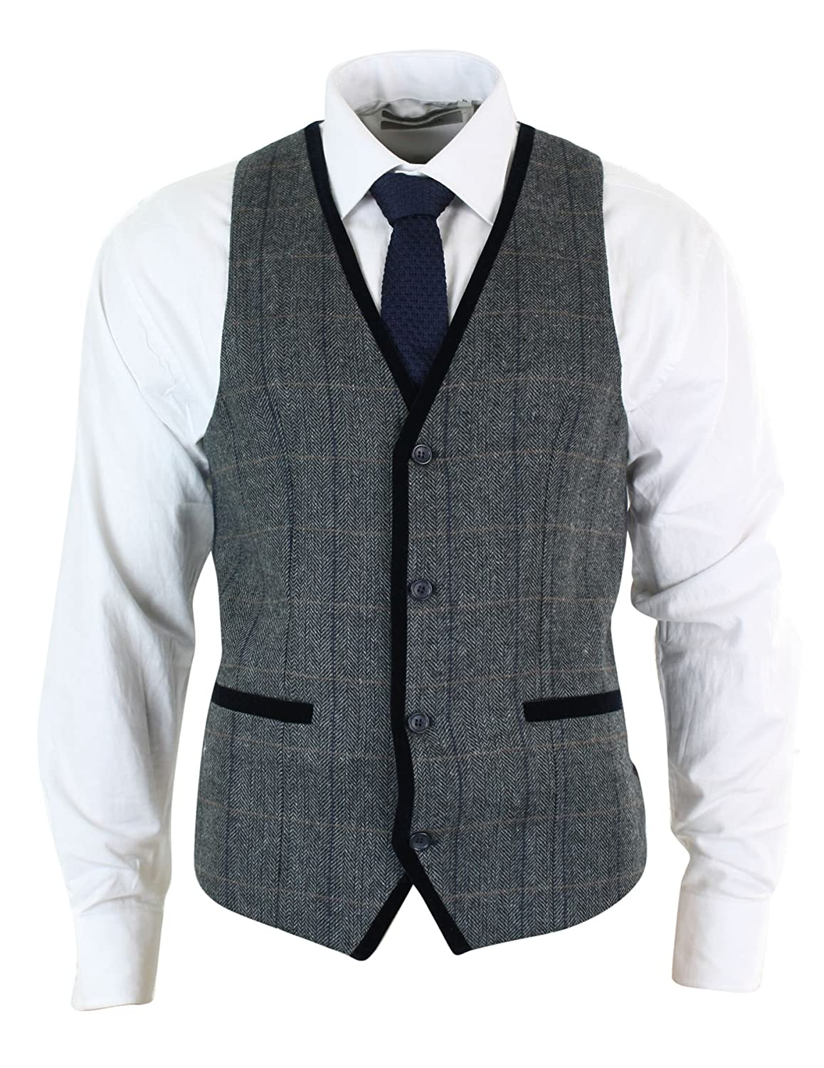 Gilet Elegante da Uomo in Tweed Blu, Blu Scuro o Nocciola e Finiture in Velluto Marc Darcy