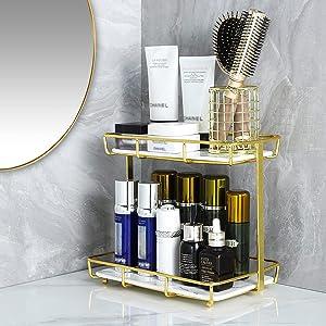 Dobbyby Bathroom Organizer Countertop Makeup Organizer Cosmetics Storage Display Rack 2 Tire Vanity Tray in Dresser Kitchen Stainless Steel Gold Shelf White Marble Print Ceramic Tray