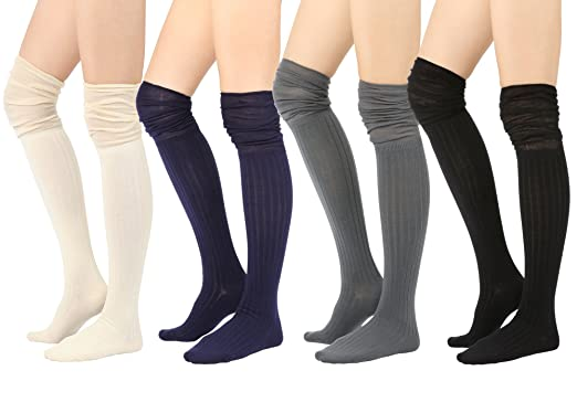 3a1ecb7e9fe STYLEGAGA Fall Winter Slouch Top Over The Knee High Knit Boot Socks (One  Size