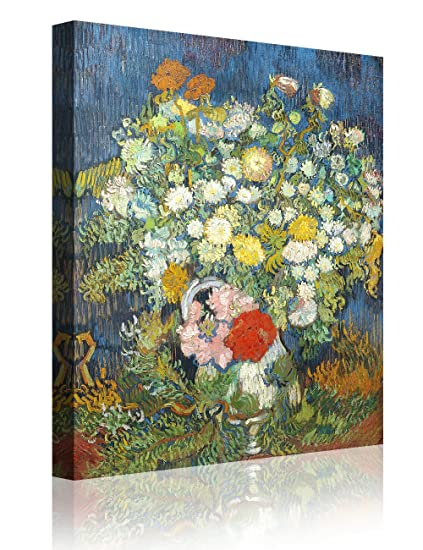 256 & IPIC - Bouquet of Flowers in a Vase  Vincent Van Gogh Art Reproduction. Giclee Canvas Prints Wall Art for Home Decor 24#F(24X30\