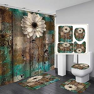 Jayden&Madge 4PCS/Set Butterfly White Daisy Shower Curtain, Retro Floral Vintage Country Farmhouse Flower Teal Brown Rustic Panel Wooden Plank Art Bathroom Decor, Non-Slip Bath Rug Toilet Mats, Daisy