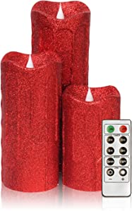 3D Flameless Pillar Candles with Remote, Set of 3 LED Candles Battery Included for Christmas Decoration and Gifts, 5,7,9 Inch (Red)