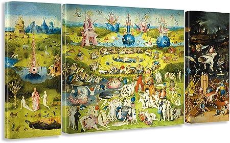 Giallobus Cuadro de Paneles múltiples en 3 Piezas - El Jardin de Las delicias - impresión en Lienzo - Listo para Colgar - 40x100 cm - 100x100 cm - 40x100 cm: Amazon.es: Hogar