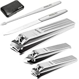 Nail Clipper Set of 5 - Premium Pedicure & Manicure Set, Professional Stainless Steel Nails Kit with Luxurious Travel Case (Ncs)