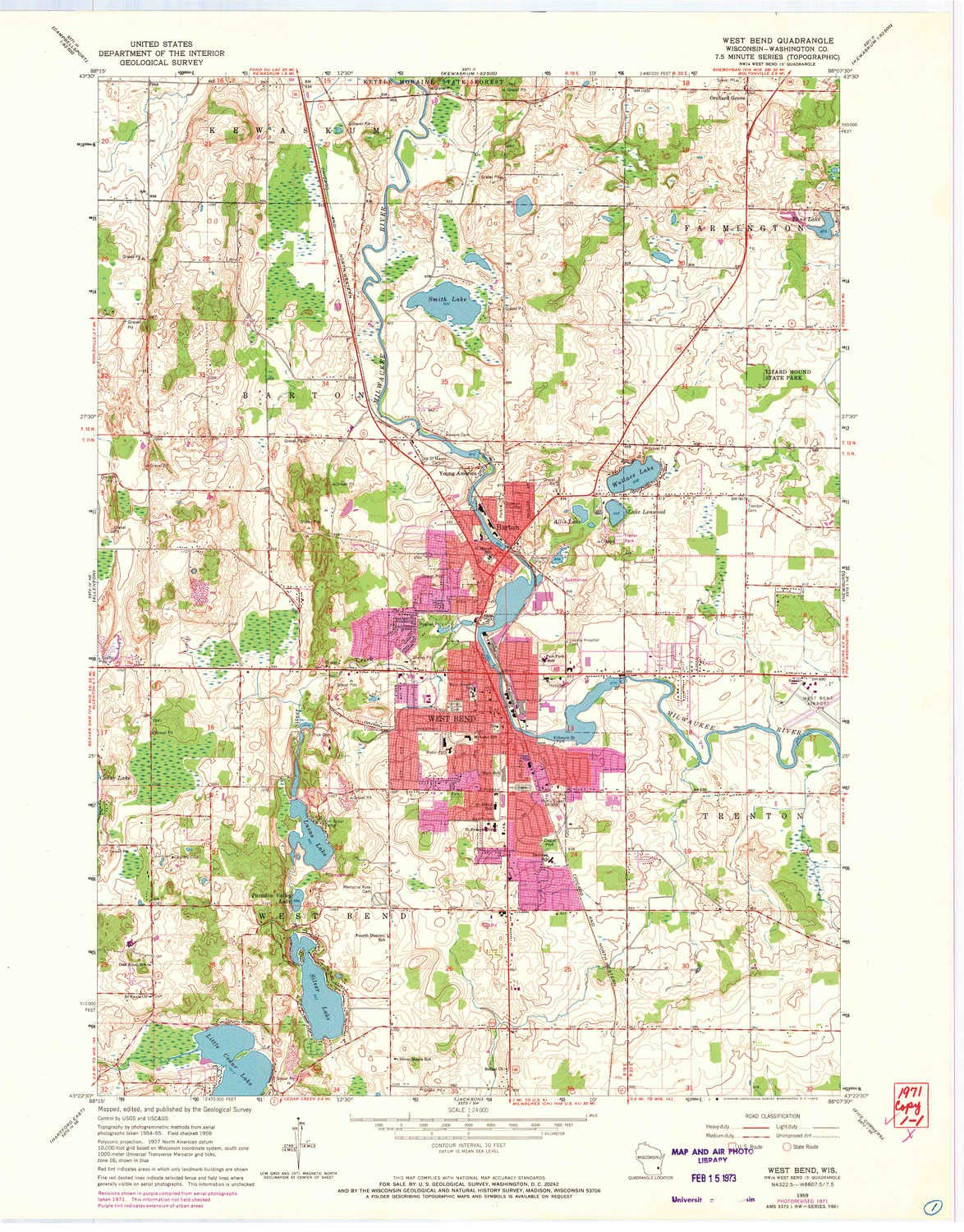 YellowMaps West Bend WI topo map, 1:24000 Scale, 7.5 X 7.5 Minute, Historical, 1959, Updated 1972, 27.54 x 21.56 in