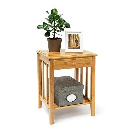 Amazon.com: Relaxdays – Mesa auxiliar con cajón de bambú: 51 ...