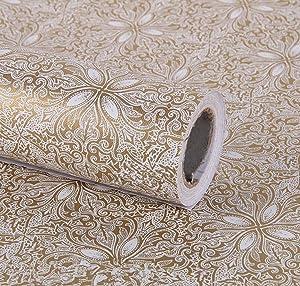 Vintage Floral Adhesive Paper Vinyl Shelf Liner Peel Stick Dresser Drawer Sticker Home Deco 17.7inch by 118inch (Gold)