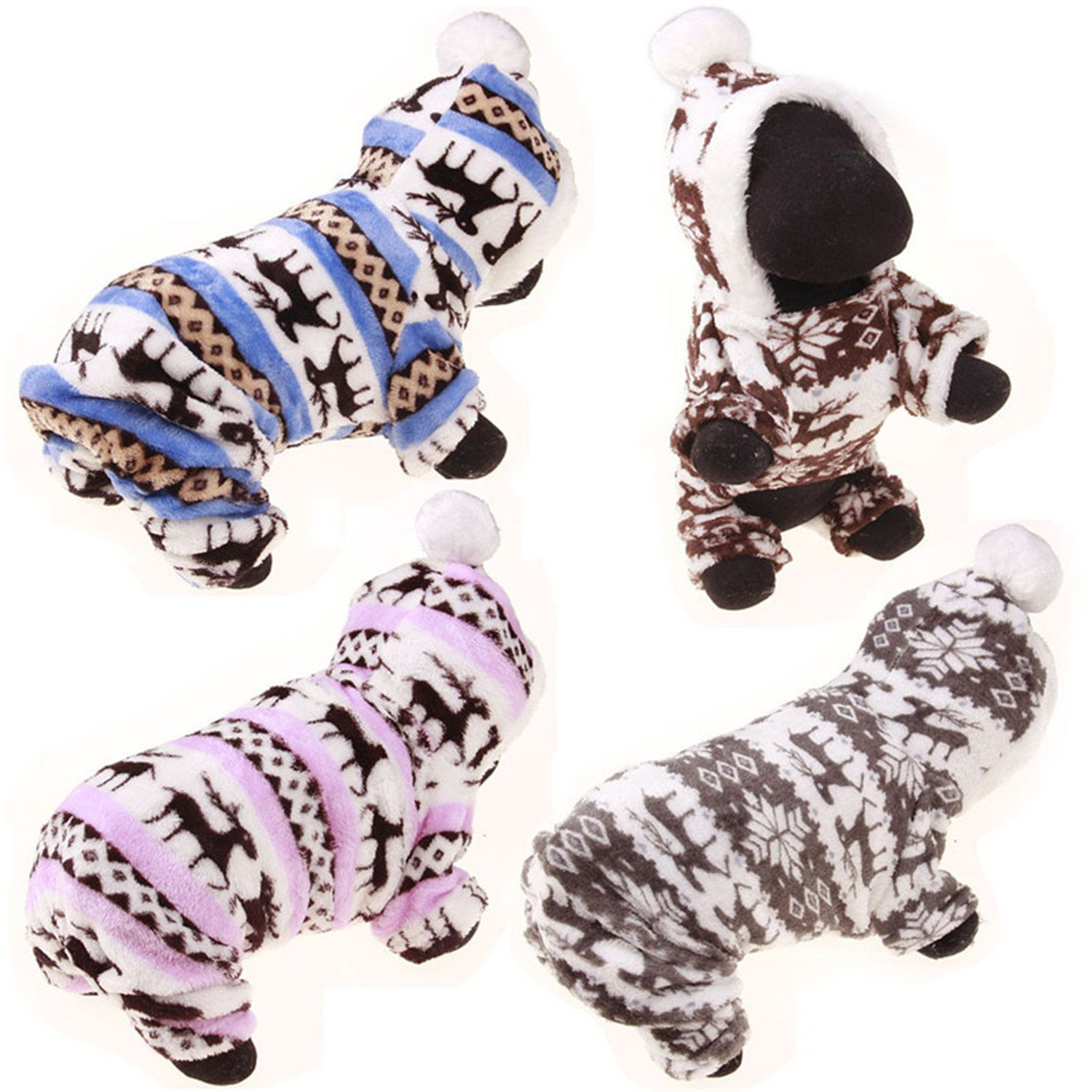 Amazon.com : HuoGuo Winter Pet Dog Clothes For Small Dogs Deer Warm Fleece Coat Jackets Costume Clothing For Puppy Teddy Chihuahua Hoodie Apparel Pink XL ...