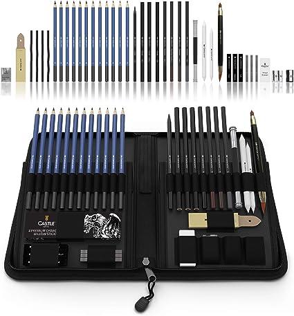 Castle Art Supplies juego de 40 lápices para bocetar y dibujar presentado en un estuche con cremallera. ¡Gama de lápices para bocetar de calidad y mucho más!: Amazon.es: Oficina y papelería