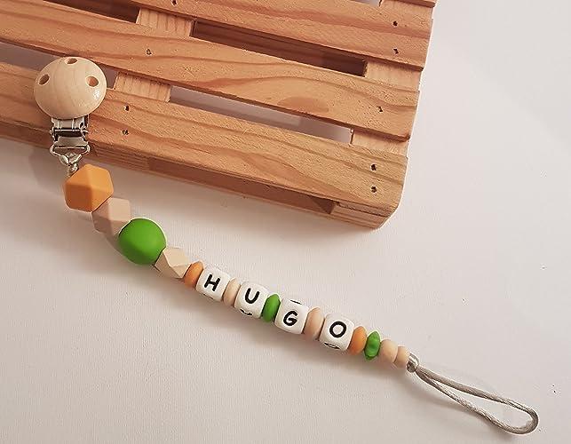 Sujetachupetes de silicona y madera personalizado con nombre o ...