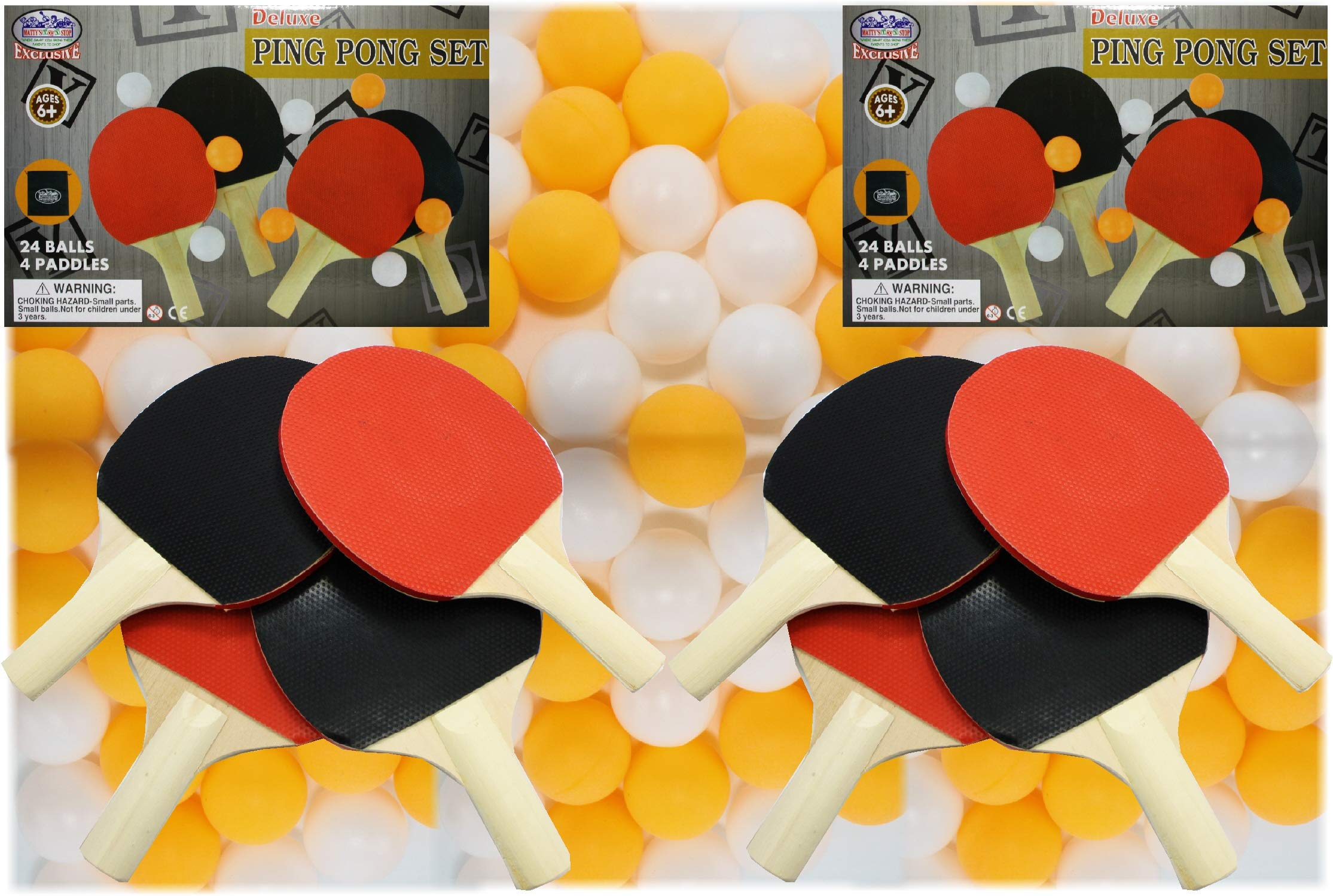 Matty's Toy Stop Deluxe Table Tennis (Ping Pong) Refill Set with 8 Paddles, 48 Balls (24 Orange & 24 White) & 2 Storage Bags by Matty's Toy Stop