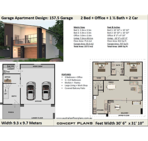 Amazon Com Affordable Small And Tiny House Plan Modern 2 Bedroom Office House Full Architectural Concept Home Plans Includes Detailed Floor Plan And Elevation Se Plans 2 Bedroom House,Home Design Software Free