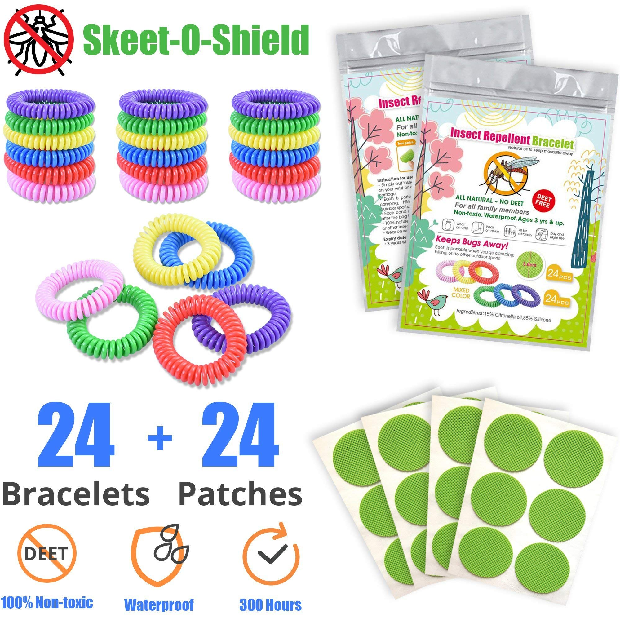 48 Pack - 24 Mosquito Repellent Bracelets + 24 Mosquito Repellent Patches - 100% Non-Toxic & All Natural, Waterproof, DEET Free, Citronella - Safe for Adults, Kids, Toddlers, Babies, and Pets