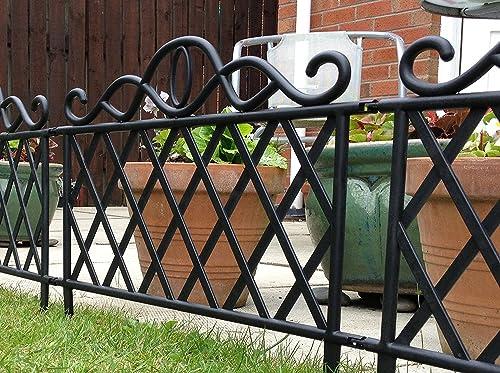 Set Of 10 Black Plastic Garden Border Fence Edging Lattice