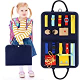 HAN-MM Busy Board Montessori Toys for Toddlers Foldable Sensory Toys Autism Toys Bag Design, Toddler Activity Board - Educati