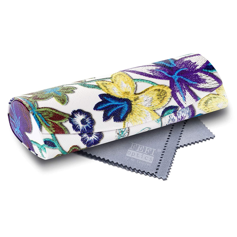 FEFI Hardcase Brillenetui Nature gepr/ägtes Blumen-Design