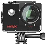 Amigo AC-11 HD Sports Action Camera with 12MP High Resolution Lens | 720p HD Image with Wide Angle Lens and Waterproof Upto 30 Meters (Black)