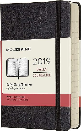 Taschenkalender 9,5 x 2,2 x 14,6 cm Pocket 2019 Moleskine Tageskalender 12 Monate Schwarz A6 Hard Cover