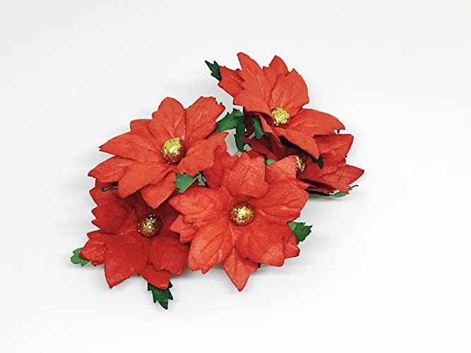 paper poinsettia mulberry paper flowers christmas decorations christmas decor holiday paper supply - Christmas Flower Decorations