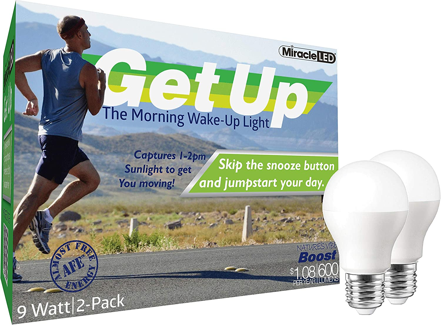 MiracleLED 604398 Miracle LED Almost Free Energy Hi-Activity Morning Wake Up Light 2-Pack Replacing Old, Hot 60W Incandescent Bulbs, 2 Piece