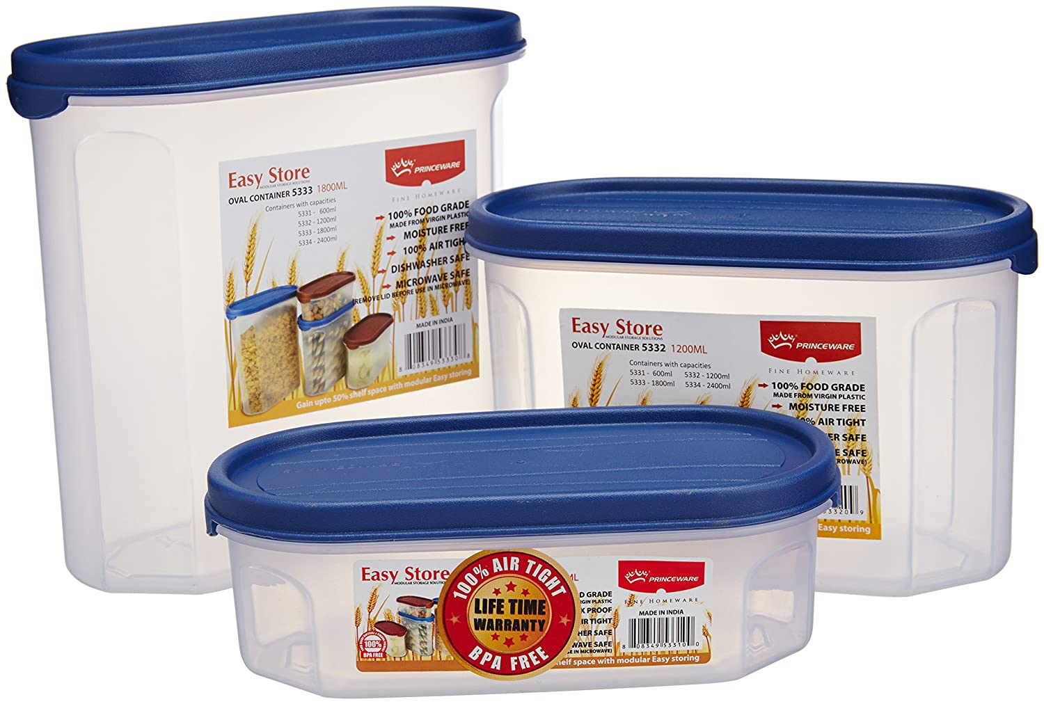 Princeware Plastic Easy Store Oval Package Container Set, 3 Pieces