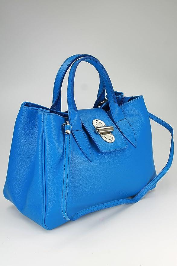 top klassische Echt Leder Henkeltasche Handtasche royal blau - 36x25x18 cm (B x H x T) Belli QhiveGZ