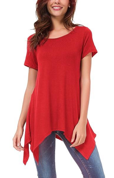 Urban CoCo Womens Short Sleeve Tunic Tops Swing Loose Tee Shirt
